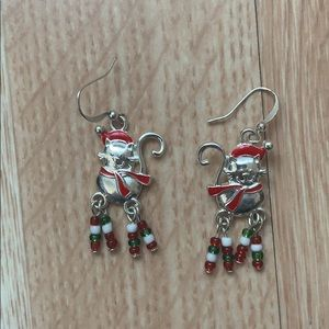 Christmas cat earrings